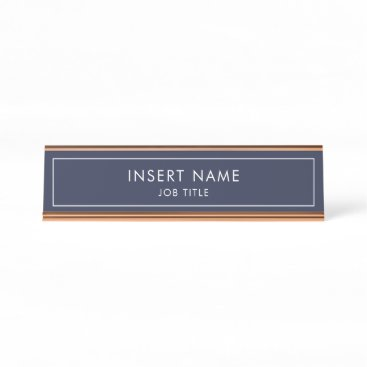 Midnight Blue Modern Professional Desk Name Plate