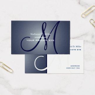 Midnight Blue Monogram Business Card