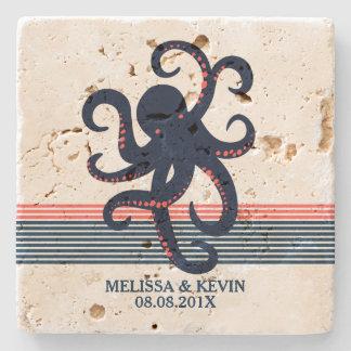 Midnight Blue Octopus & Decorative Stripes Stone Coaster