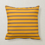 [ Thumbnail: Midnight Blue & Orange Lined Pattern Throw Pillow ]