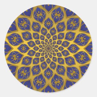 Midnight Blue oriental tiles on gold Classic Round Sticker