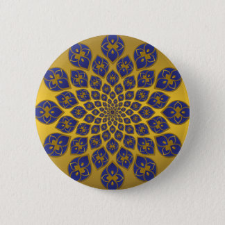 Midnight Blue oriental tiles on gold Pinback Button