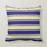 [ Thumbnail: Midnight Blue, Pale Goldenrod, and Dark Gray Throw Pillow ]