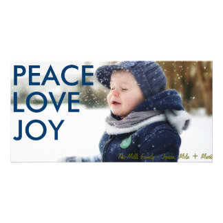 Midnight Blue Peace Love and Joy Photocard Personalized Photo Card