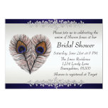 Midnight Blue Peacock Bridal Shower 5x7 Paper Invitation Card