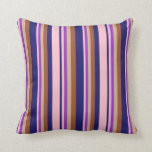 [ Thumbnail: Midnight Blue, Pink, Dark Orchid, Tan & Sienna Throw Pillow ]