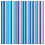 [ Thumbnail: Midnight Blue, Pink & Deep Sky Blue Stripes Fabric ]