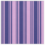 [ Thumbnail: Midnight Blue & Plum Colored Stripes Fabric ]