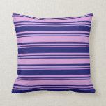 [ Thumbnail: Midnight Blue & Plum Colored Stripes Throw Pillow ]