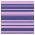 [ Thumbnail: Midnight Blue & Plum Lines Pattern Fabric ]
