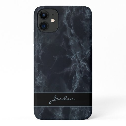 Midnight Blue Polished Marble Stone with Name iPhone 11 Case