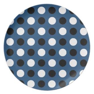 Midnight Blue Polka Dots Dinner Plate