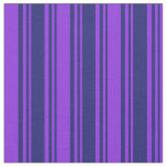 [ Thumbnail: Midnight Blue & Purple Colored Striped Pattern Fabric ]