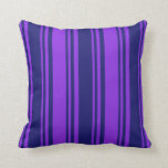 [ Thumbnail: Midnight Blue & Purple Colored Striped Pattern Throw Pillow ]