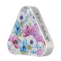 Midnight blue purple watercolor flowers pattern bluetooth speaker