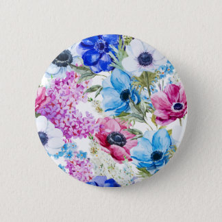 Midnight blue purple watercolor flowers pattern button