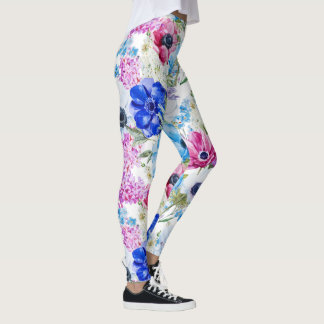 Midnight blue purple watercolor flowers pattern leggings