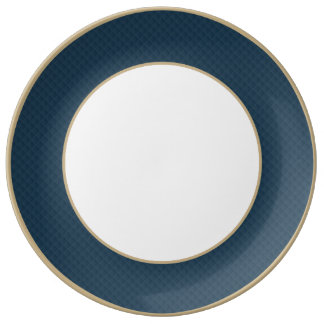Midnight Blue Quilted Pattern Porcelain Plates