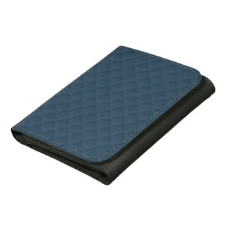 Midnight Blue Quilted Pattern Leather Trifold Wallets