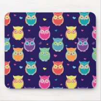 Midnight Blue Rainbow Owl Pattern Pretty Tween Mouse Pad