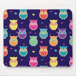 Midnight Blue Rainbow Owl Pattern Pretty Tween Mouse Pad