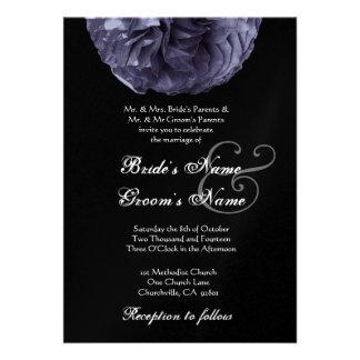 MIDNIGHT BLUE Rose Wedding Invitation