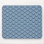 Midnight Blue Seigaiha Pattern Mousepad