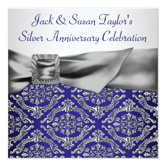 Midnight Blue Silver Damask 25th Anniversary Party Card