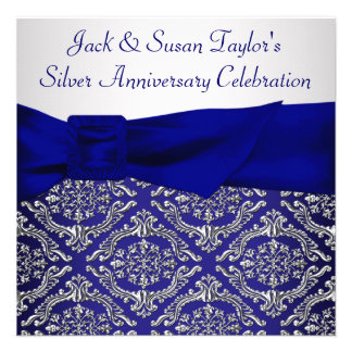 Midnight Blue Silver Damask 25th Anniversary Party Invitation