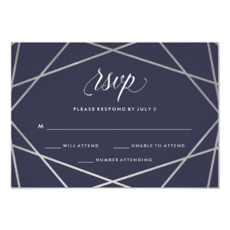 Midnight Blue Silver Geometric | Bat Mitzvah RSVP Card