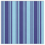 [ Thumbnail: Midnight Blue & Sky Blue Lined/Striped Pattern Fabric ]