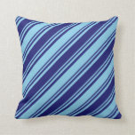 [ Thumbnail: Midnight Blue & Sky Blue Lined/Striped Pattern Throw Pillow ]