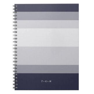 Midnight Blue & Smoke Gray Colorblock Monogram Notebook