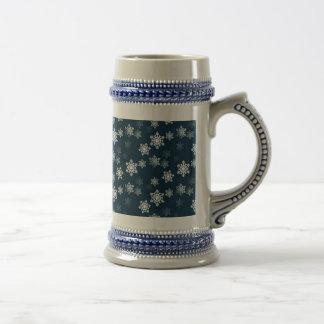 Midnight Blue Snow Flurries Beer Stein