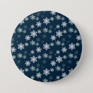 Midnight Blue Snow Flurries Button