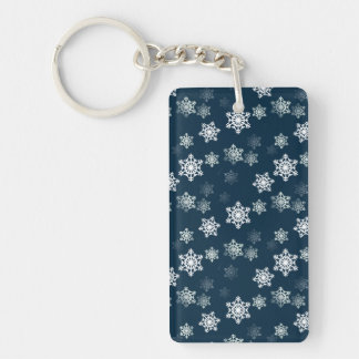 Midnight Blue Snow Flurries Keychain