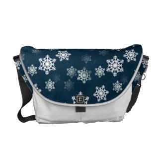 Midnight Blue Snow Flurries Messenger Bags