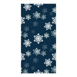 Midnight Blue Snow Flurries Photo Card Template