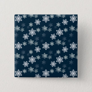 Midnight Blue Snow Flurries Pinback Button