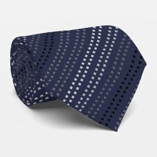 Midnight Blue Square Striped Pattern Neck Tie