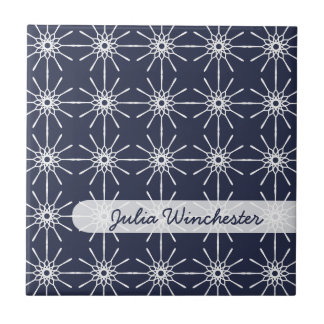 Midnight Blue Starburst Personalized Tile