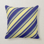 [ Thumbnail: Midnight Blue, Tan & Light Slate Gray Colored Throw Pillow ]