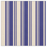 [ Thumbnail: Midnight Blue & Tan Lines Fabric ]