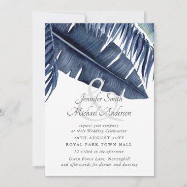 Midnight Blue Tropical Leaf Wedding Ampersand