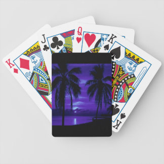 MIDNIGHT BLUE TROPICAL NIGHT BLACK PALM TREES OCEA BICYCLE PLAYING CARDS