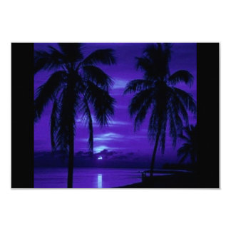 MIDNIGHT BLUE TROPICAL NIGHT BLACK PALM TREES OCEA CARD