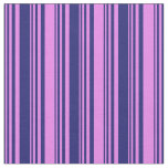 [ Thumbnail: Midnight Blue & Violet Colored Stripes Pattern Fabric ]