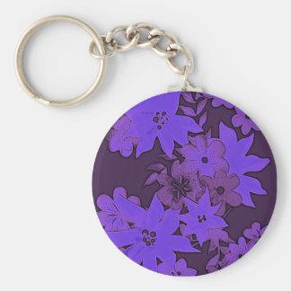 Midnight blue violet floral key charm basic round button keychain