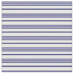 [ Thumbnail: Midnight Blue & White Colored Pattern of Stripes Fabric ]