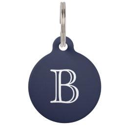 Midnight Blue White Monogram Name Pet ID Tag